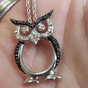 Diamond owl necklace